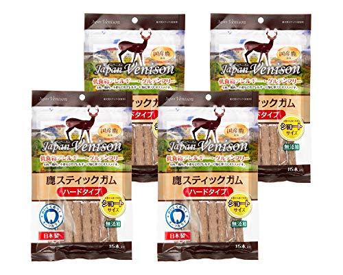 【4袋セット】 アスク (Asuku) ジャパンベニスン 無添加グルテンフリー鹿スティックガムハード(ショート) 15本 × 4袋
