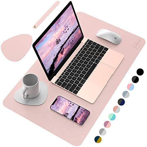 """AFRITEE Desk Pad Desk Protector Mat - Dual Side PU Leather Desk Mat Large Mouse Pad, Writing Mat Waterproof Desk Cover Organizers Office Home Table Gaming Decor (Rose Pink/Silver, 23.6"""" x 13.8"""")"""