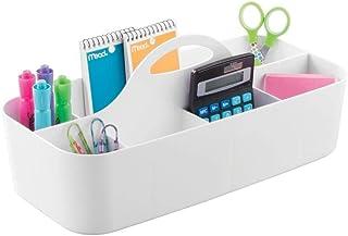 mDesign Koszyk z przegródkami i rączka na długopisy, kredki i akcesoria szkolne – Plastikowy przenośny organizer na biurko...