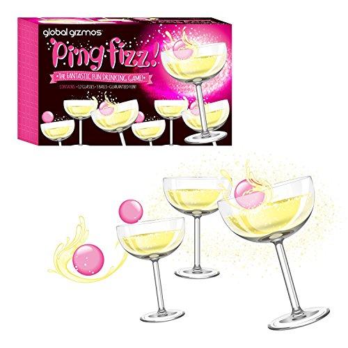 Global Gizmos 52730 Prosecco Pong Set | Party/Spaß/Spiel | 12 Gläser & 3 Bälle | Trinkspiel für Erwachsene, weiß