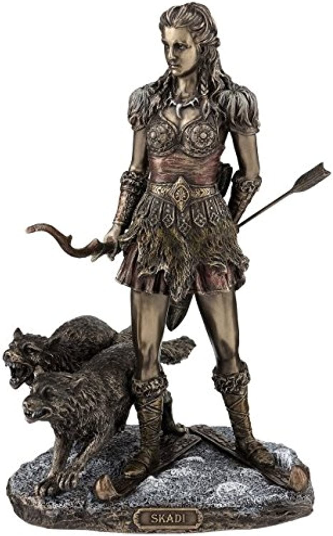 Figur Skadi nordische Gttin der Jagd Figur bronziert Skulptur