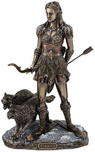 Figura skaði nórdicos Diosa de la Caza Escultura Bronce