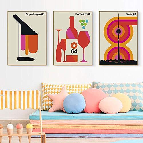 Terilizi Kleurrijke stad canvas muurschildering kunst poster Nordic Bordeaux 64 wijn afdrukken Scandinavische decoratie foto Home Decor-50 * 70 cm-niet ingelijst-3 stuks