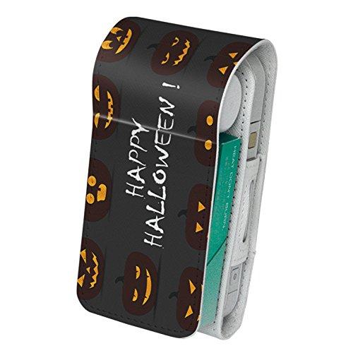 スマコレ IQOS専用 レザーケース 【従来型/新型 2.4PLUS 両対応】 専用 ケース カバー 合皮 カバー 収納 かぼちゃ ハロウィン 黒 013394