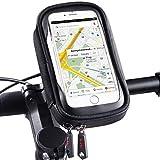 ROTTO Bike Phone Mount Waterproof Bicycle Cell Phone Holder Handlebar Bag Anti-Shake with 360° Rotation Three Sizes (Black-L)
