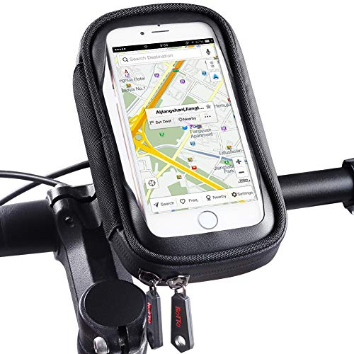 ROTTO Bike Phone Mount Waterproof Bicycle Cell Phone Holder Handlebar Bag Anti-Shake with 360° Rotation Three Sizes (Black-M)