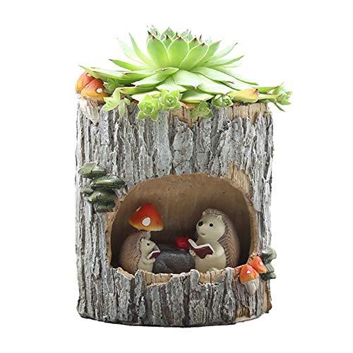 Moderna de madera Resina Bonsai Pot suculentas retro Permeable las plantas verdes de cerámica Macetas de estar Oficina Sala de jardín Decoración del hogar ( Color : Hedgehog , Sheet Size : 7x7x9.5cm )