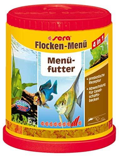 sera Flocken-Menü 150ml - 4 verschiedene Fischfutter bzw. Flockenfutter in 1 Dose für mehr Abwechslung im Aquarium und für z.B. Salmler, Barben oder für Lebengebährende wie Guppy, Schwertträger, Platy