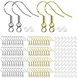 Sawyd 925 Silver Hypoallergenic Earring Hooks - Earring Making Kit with Ear Wires Fish Hooks Jump Rings and Clear Rubber Earring Backs for DIY Jewelry Making,Gold and Silver (400 PCS)
