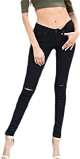 Women Washed Casual Stretch Ripped Skinny Jeans Distressed Denim Pants