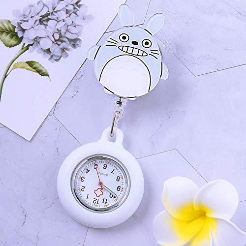 dihui Reloj Médico de Doctor Enfermera,Reloj médico Luminoso, Reloj de Bolsillo con Cofre retráctil, Amarillo Claro,Reloj Prendedor de Broche