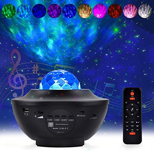 Tyhbelle LED Projektor Lampe,2 in 1 Nachtlicht Sternenhimmel Bluetooth mit Fernbedienung Baby Starry Stern Mond/Wasserwellen-Welleneffekt Lautsprecher für Schlafzimmer