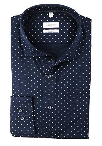 Seidensticker Men's Regular Fit Langarm Twill Shirt, Blue (Blue 19), 18
