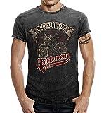 Biker T-Shirt im Washed Jeans Look: Oldschool Gentlemen L