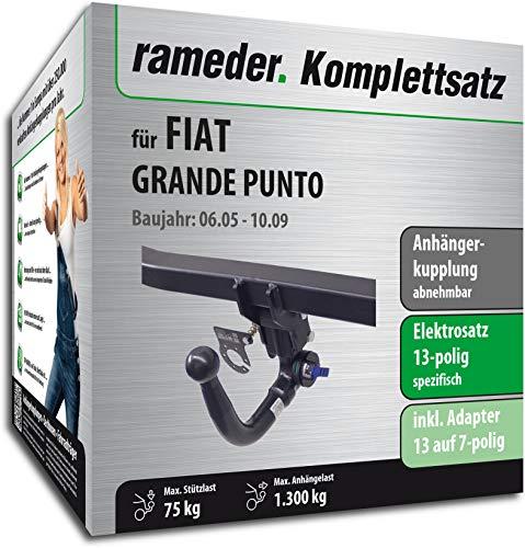 Rameder Komplettsatz, Anhängerkupplung abnehmbar + 13pol Elektrik für FIAT Grande Punto (121909-05450-1)
