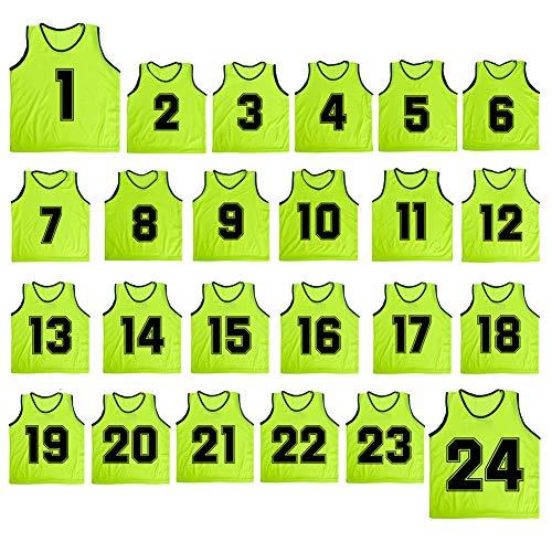 TopTie Número 1 a 24 camisetas de baloncesto Scrimmage equipo de malla de nailon ligero chalecos de entrenamiento de fútbol, color verde, tamaño niño