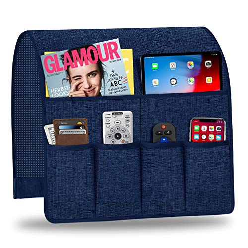 Naturoom Sofa Armrest Organizer, Non-Slip Couch Caddy Armchair Arm Chair Caddy with 6 Pockets Armchair Caddy for Smart Phone, Book, Magazines, Ipad, TV Remote Control Holder (19'' x 35'', Navy Blue)