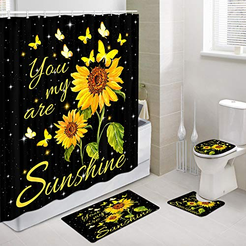 JAWO Sunflowers Butterfly Shower Curtain and Bath Mat Set 69x70 Inch, You are My Sunshine Inspirational Quote Words, Bathroom Mat Set with Contour Toilet Mat, Mat and Toilet Lid Cover