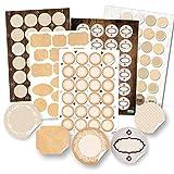 Logbuch-Verlag 124 pegatinas vacías en blanco para escribir, pegatinas para cocina, etiquetas para especias, regalos DIY