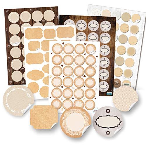 Logbuch-Verlag 124 pegatinas vacías en blanco – Pegatinas para cocina, etiquetas para especias, tarros y botellas