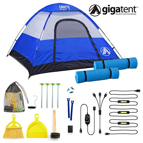 GigaTent Trailhead Dome 3-4 Person Camping POP UP Tent – Spacious, Lightweight, Heavy Duty – Weather and Flame Resistant Outdoor Hiking Gear – Fast, Easy Setup – 7'X7′ Floor, 51″ Height KIT Two, Blue