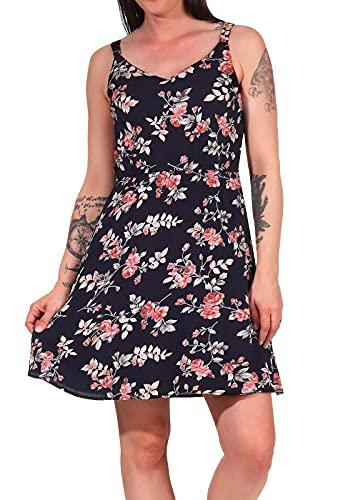 ONLY Damen Kleid ONLKarmen Trägerkleid mit Blumenmuster 15157655 Night Sky/Rose Flowers 38
