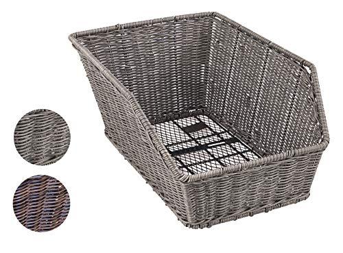 Büchel Fahrrad-Schultaschenkorb, hochwertiges Polyrattan, grau, 40504530
