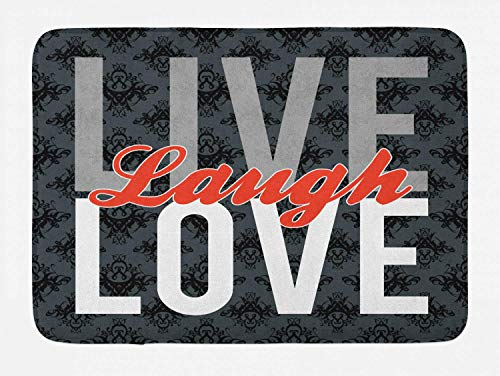 Ambesonne Live Laugh Love Bath Mat, Different Typed Words of Wisdom Victorian Antique Damask Motifs Tile Print, Plush Bathroom Decor Mat with Non Slip Backing, 29.5' X 17.5', Grey Red