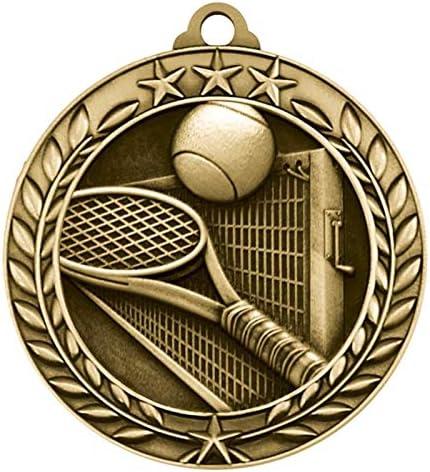 1 x TENNIS 50mm medal trophy award summer sport FREE Engraving Ribbon /& POST