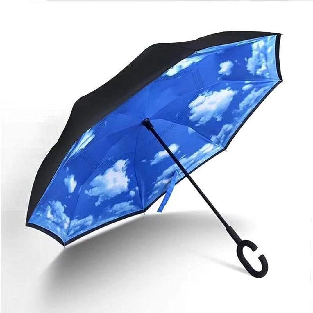 疑い者サリーマナーYSYYSH 傘逆傘ハンズフリーロングハンドル傘C型ハンドルは保持するのが快適で、乾燥した青い空と白い雲124 CM×80 CMに高速 クラシック傘