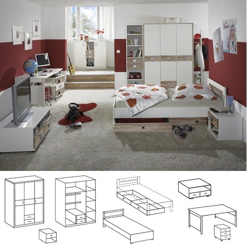 Wimex Babyzimmer Set Jalta, bestehend aus Schrank, Bett, Bettschubkästen, Nachtschrank, Liegefläche 90x200 cm, Weiß/ Absetzung Eiche Sägerau