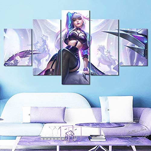 Kda All Out Evelynn Canvas Painting LOL Game Poster Legends Canvas Art Wall Picture for Living Room Decor Nice Gift(with Frame Size)