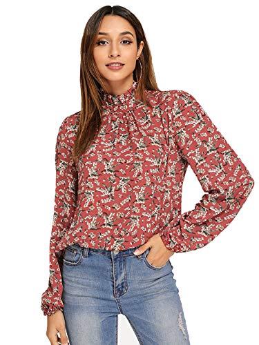 ROMWE Damen Elegant Gestreift Stehkragen Arbeitskleidung Bluse Top Shirts - braun - X-Groß