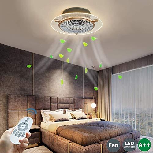 Luz de ventilador LED moderna 48W Luz de techo Lámpara de ventilador de techo con iluminación Mando a distancia regulable Lámpara de techo Fan con ventilador redondo, para dormitorio sala comedor 56cm