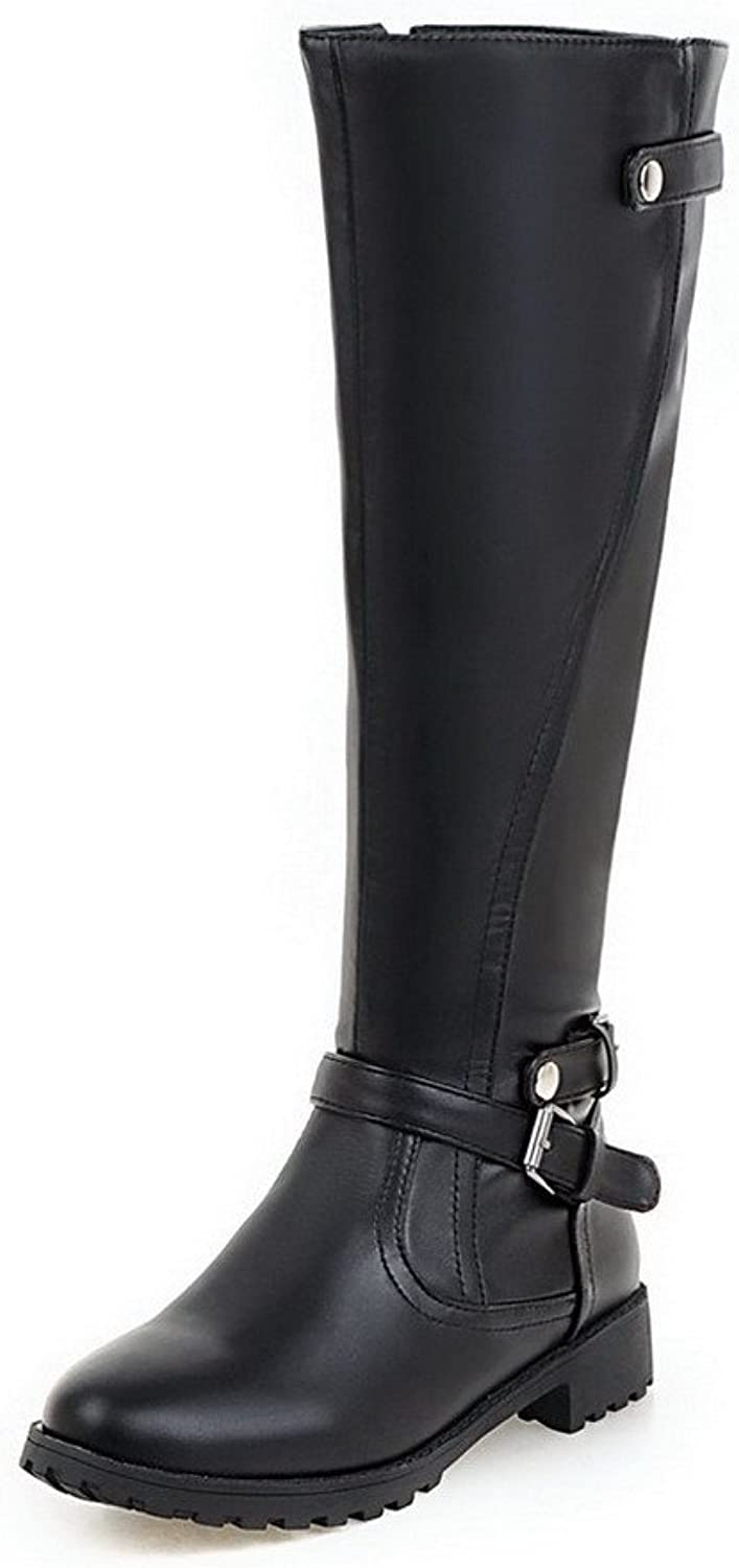 WeenFashion Women's Low-Heels Solid Round Closed Toe Soft Material Zipper Boots