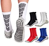 Non Slip Soccer Socks Mens | 4 Pairs | Non Skid Grip | Football Basketball Sport