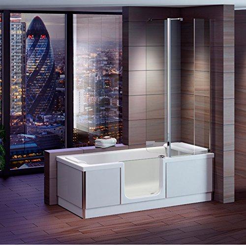 Badewanne 1800x800 mm / 180x80 cm HOSTYLE mit Tür inkl. Duschaufsatz, Schürze und Ablauf Color Rechte Ausführung