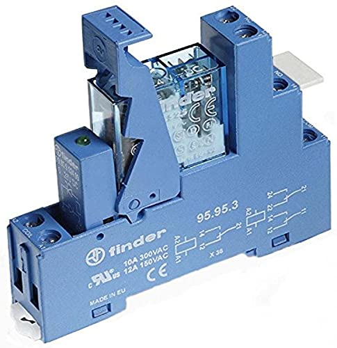 Finder 49.52.7.012.0050 Koppelrelais mit Blauer Fassung 12 V DC, 2 W, 8 A