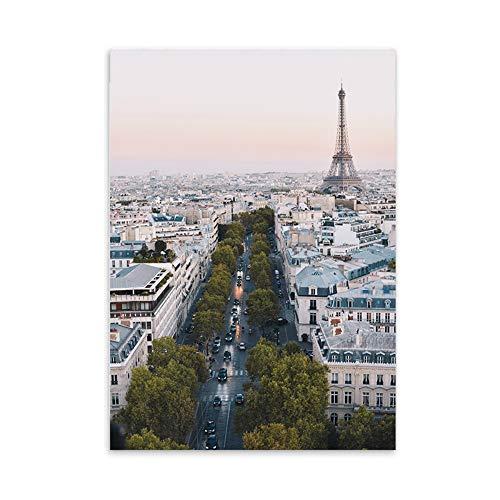 LaLe Living Hochwertiger Leinwanddruck mit Eifelturm Paris als Motiv A4 21 x 30 cm (ohne Rahmen) - Frankreich Kunstdruck Moderne Poster Print Leinwandbild Wandbild Leinwand Plakat Deko Bild DINA4