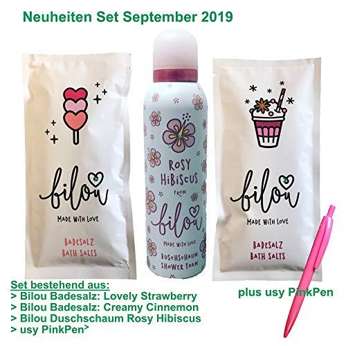 Bilou Neuheiten Testpaket Creamy Cinnamon & Lovely Strawberry Badesalze und Rosy Hibiscus...