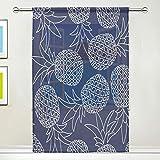 N/E RXYY Cortina de gasa transparente para ventana de acuarela tropical piña azul marino, panel de cortinas para cocina, sala de estar, dormitorio, puerta de oficina, 54 x 78 pulgadas, 1 panel, contrachapado, multicolor, 55x84x1(in)