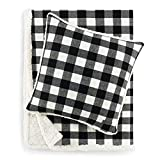 Eddie Bauer Home   Flannel Collection   Throw Blanket-Reversible Sherpa Fleece Cover, Soft & Cozy, Perfect for Bed or Couch, Throw & Pillow, Cabin Black Bundle