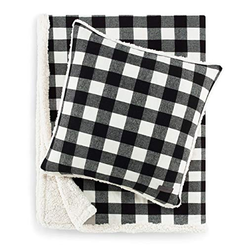 Eddie Bauer | Flannel Collection | Throw Blanket-Reversible Sherpa Fleece Cover, Soft & Cozy, Perfect for Bed or Couch, Throw & Pillow, Cabin Black