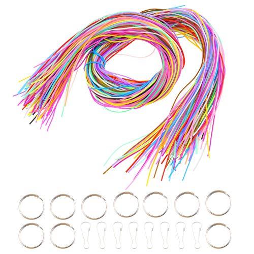 OTOTEC 200 stks Kunststof Vetkoord String 1m Lengte met Snap Clip Haken en Sleutelhanger Ring voor het maken van Armbanden