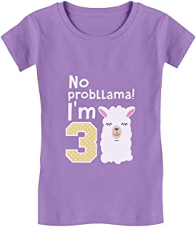 Gift for 3 Year Old Girl No Probllama 3rd Birthday Infant Girls' Fitted T-Shirt