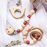Mamimami Home 3pc Kinderkrankheiten Perlen Holzring Silikon Armband Baby Beißring Kauen Schmuck Nippel Clip Armband Montessori Toys