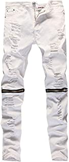 Leward Men's Ripped Skinny Distressed Destroyed Straight Fit Zipper Jeans with Holes