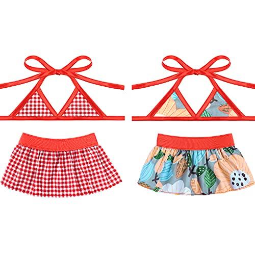 2 Piezas Vestidos para Perros de Natación Bikinis para Mascotas Trajes de Baño de Playa Bañador de Cachorro Gato para Disfraz (L)