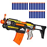 X TOYZ Motorized Blaster, Electric Blaster Shoting Gun, 30 Official Darts Compatible with Nerf Guns, 1 Butt and 1Dart Clip, Toy Gun Set for Kids 6+Age Birthday Christmas Easter Day Gift