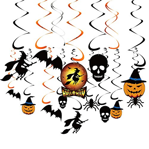KUUQA 34 Pieces Halloween Party Hanging Swirl Decoration Scary Theme Ceiling Decorations Witches Bats Spider Skull Swirl Hanging Cards